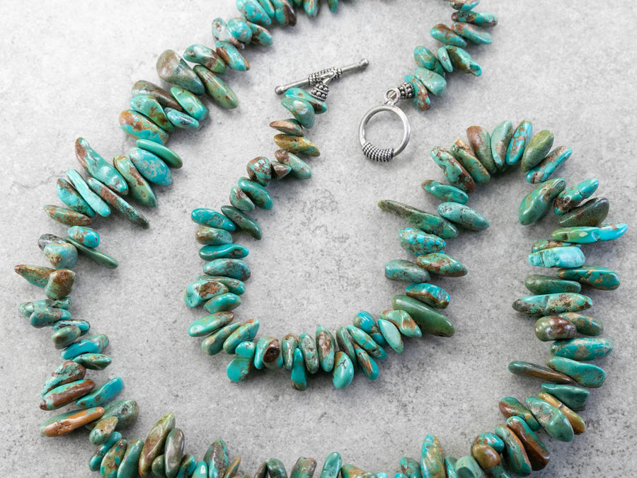 Bold Turquoise Nugget Beaded Necklace
