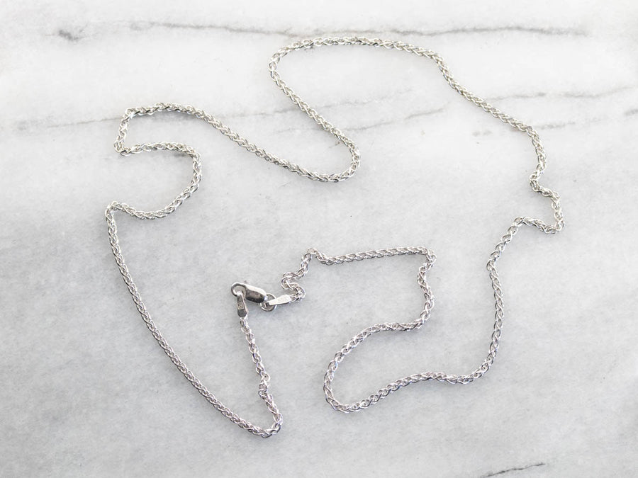 20 Inch 14K White Gold Wheat Chain Necklace