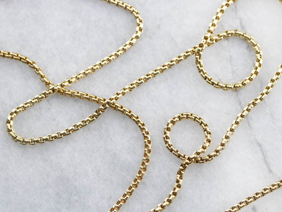 Vintage 800 Gold Round Link Box Chain