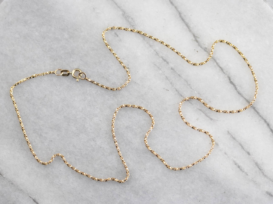 Twisted 14K Gold Box Chain Necklace
