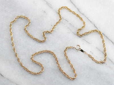 Vintage 14K Yellow Gold Rope Twist Chain