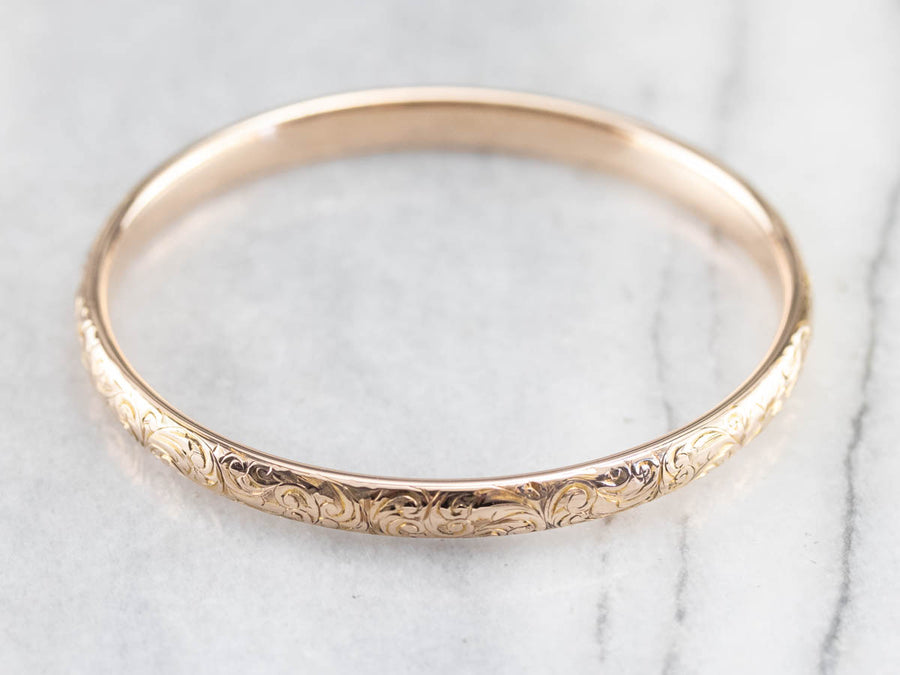 Vintage Engraved Rose Gold Bangle Bracelet