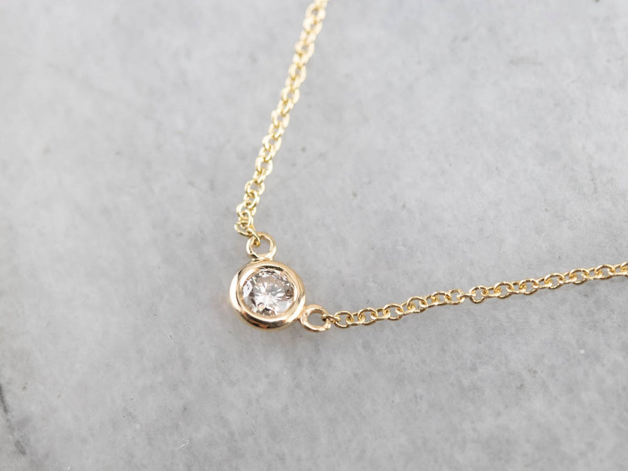 Yellow Gold Diamond Solitaire Necklace
