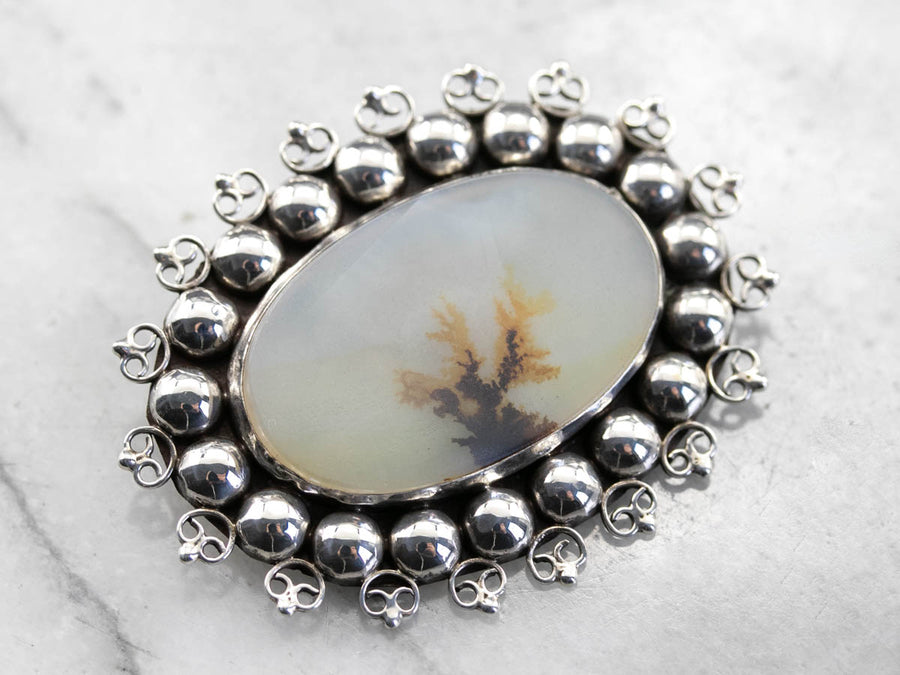 Sterling Silver Dendritic Agate Pin