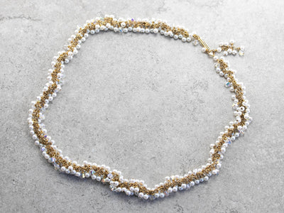 Faux Pearl and Aurora Borealis Crystal Beaded Necklace