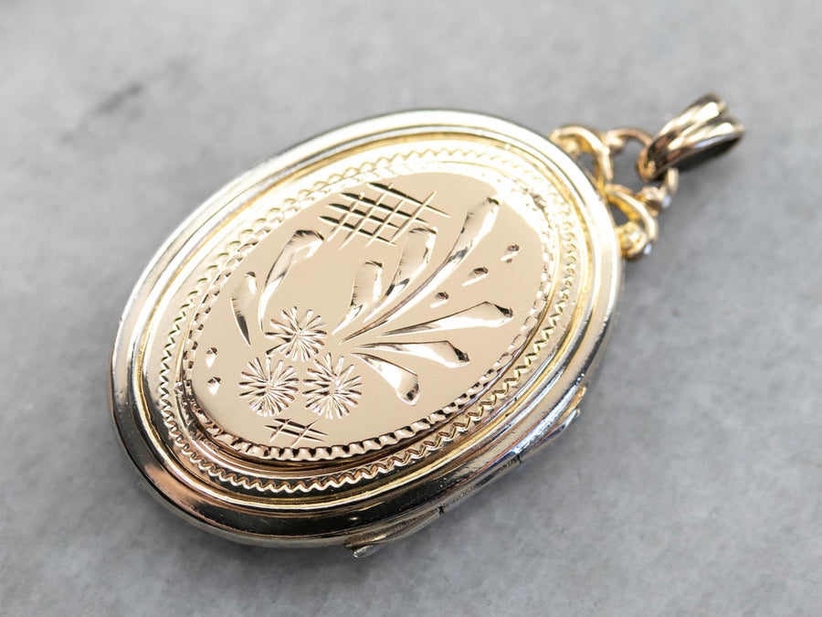 Engraved Gold Floral Locket