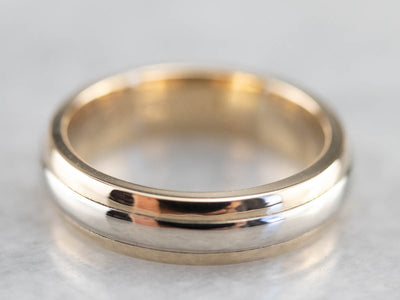 Unisex White and Yellow Gold Band