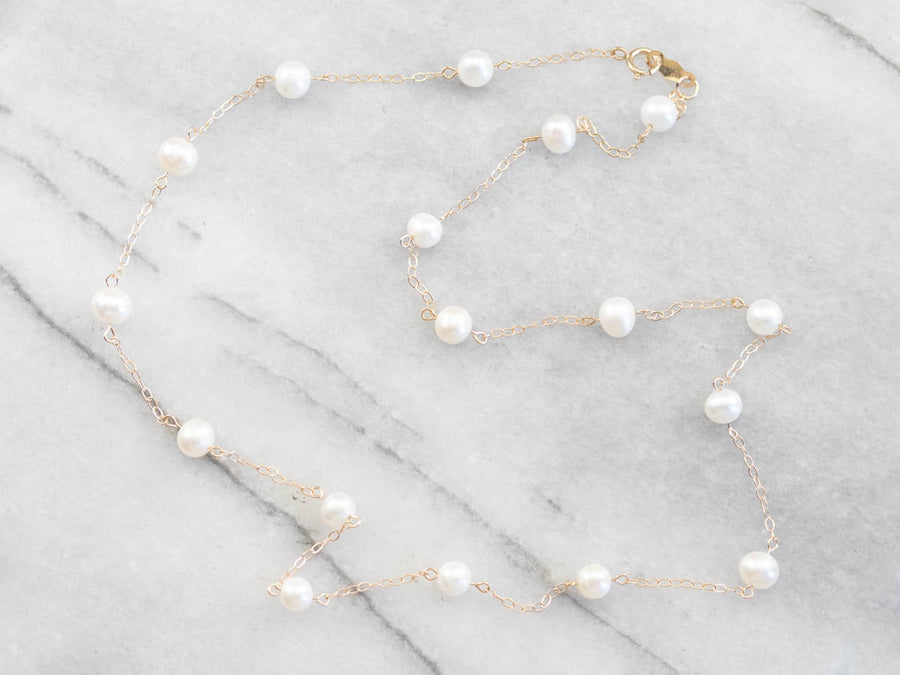 Vintage White Pearl Beaded Necklace