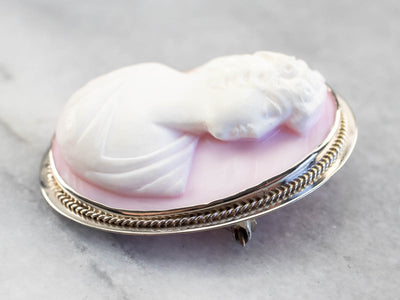 Pink Shell Cameo Brooch or Pendant