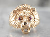 Gold Lion Diamond and Ruby Ring