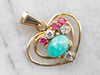 Amazonite Diamond Ruby Heart Gold Pendant
