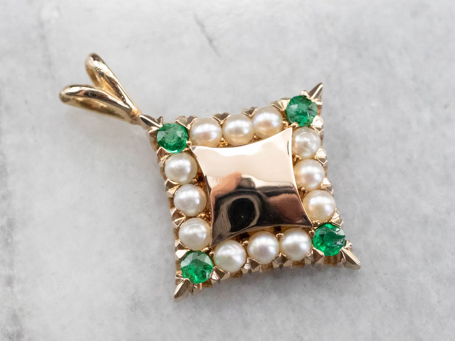Seed Pearl Emerald Gold Pendant