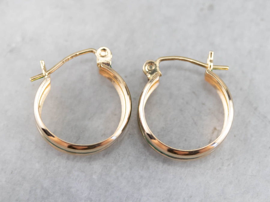 Green Enamel Gold Hoop Earrings