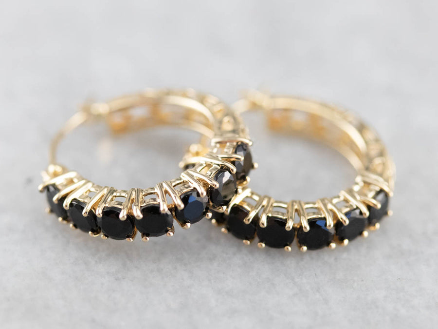Vintage Black Onyx and Gold Hoop Earrings