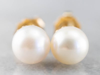 Yellow Gold White Pearl Stud Earrings