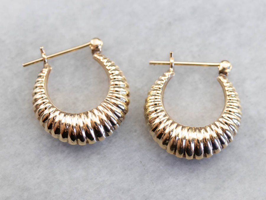 Vintage Gold Ridged Hoop Earrings,