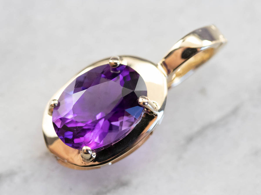 Modern Amethyst Pendant in Yellow Gold