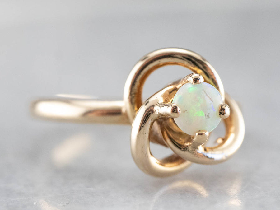 Vintage Opal Lover's Knot Gold Ring