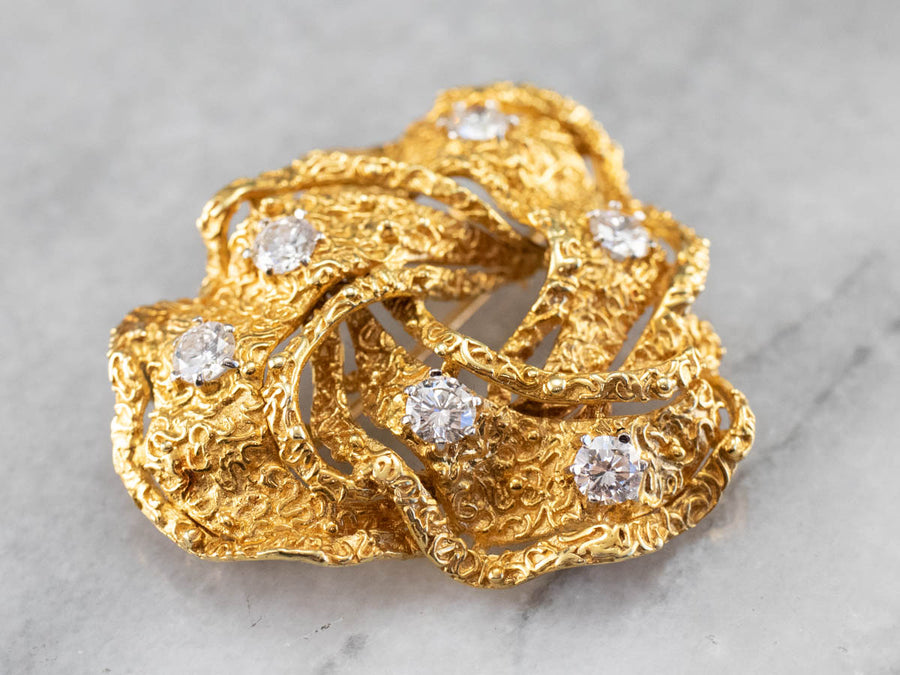 Diamond Textured Gold Knot Brooch Pendant