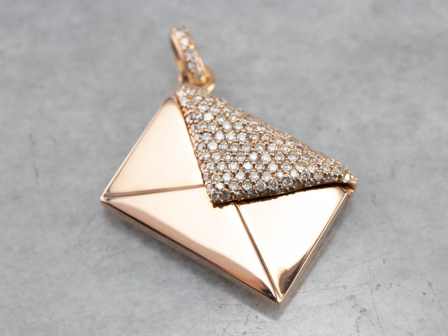 Diamond Encrusted Rose Gold Envelope Pendant