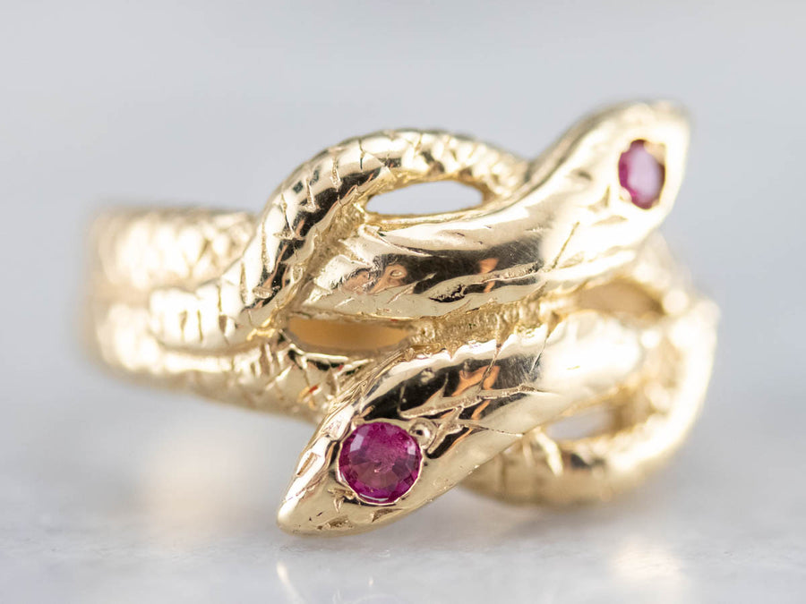 Vintage Ruby Interlocking Snake Gold Ring