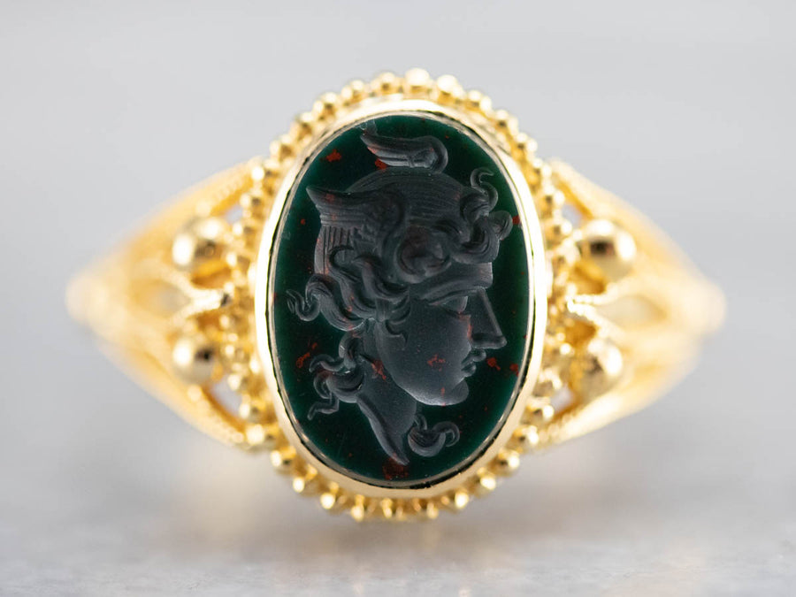 Etruscan Revival Bloodstone Intaglio High Karat Gold Ring