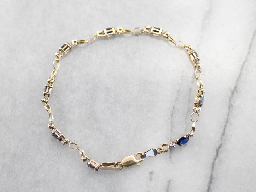 Synthetic Sapphire and Diamond Tennis Bracelet