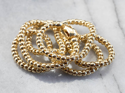 Long Yellow Gold Popcorn Chain