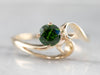 Modernist Gold Demantoid Garnet Solitaire Ring