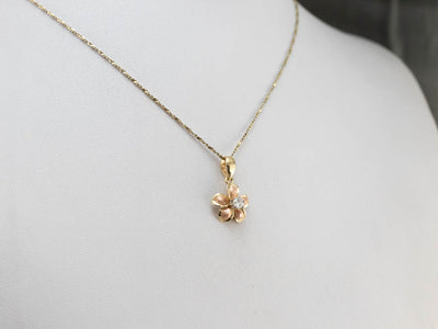 Floral Two Tone Gold Diamond Pendant