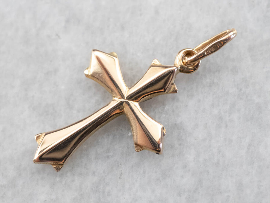 18K Gold Small Cross Religious Pendant