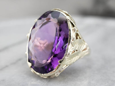 Large Amethyst Botanical Cocktail Ring