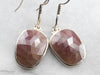 Ruby Crystal Sterling Silver Drop Earrings