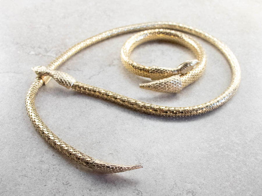 Gold Tone Snake Arm Cuff and Necklace Set
