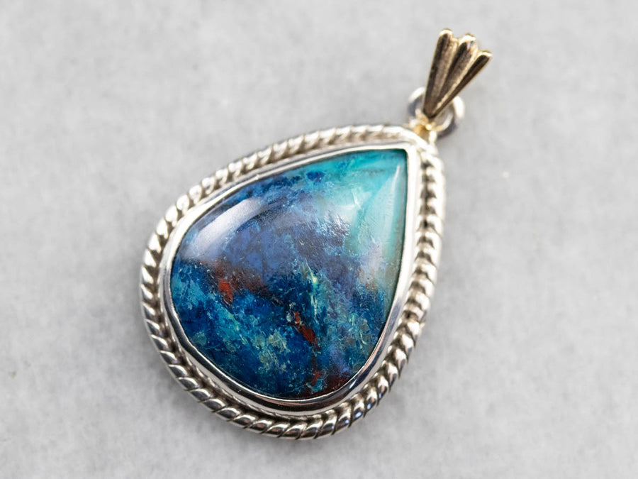 Bezel Set Chrysocolla Mixed Metal Pendant