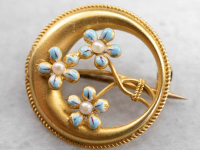 Art Nouveau Forget-Me-Not Honeymoon Pin