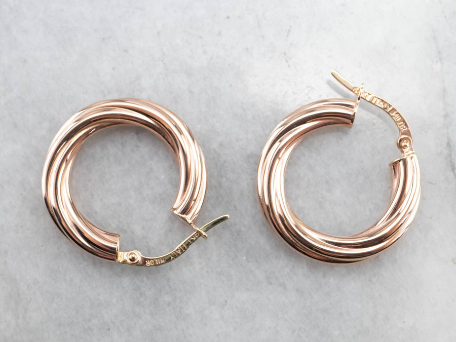Twisting 18K Rose Gold Hoop Earrings