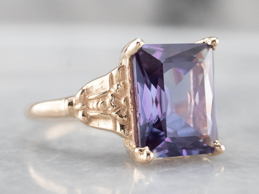 Synthetic Alexandrite Solitaire Ring