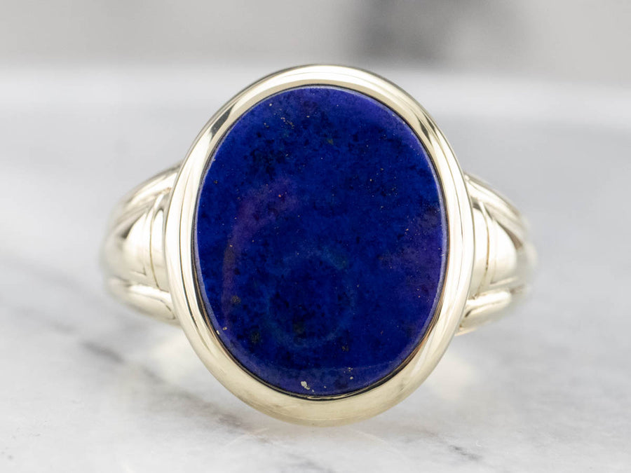 Bold Green Gold and Lapis Men's Ring