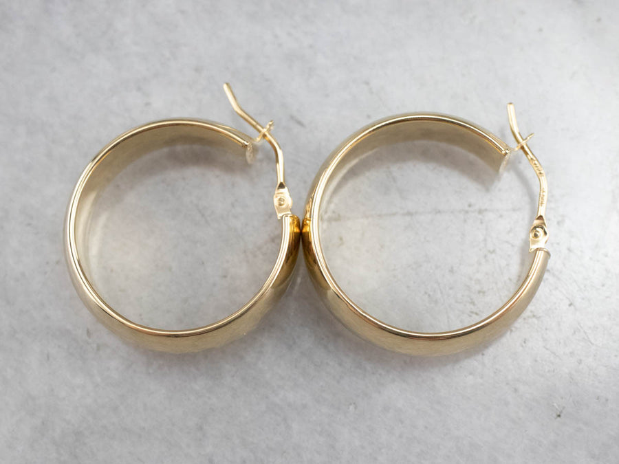 Wide 18K Gold Hoop Earrings