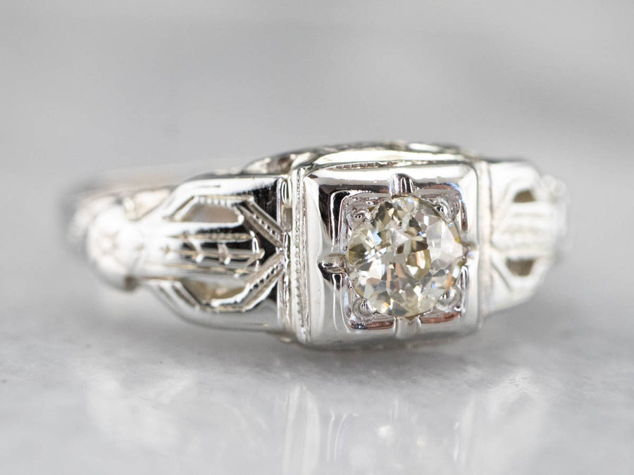 Art Deco Old Mine Cut Diamond Engagement Ring
