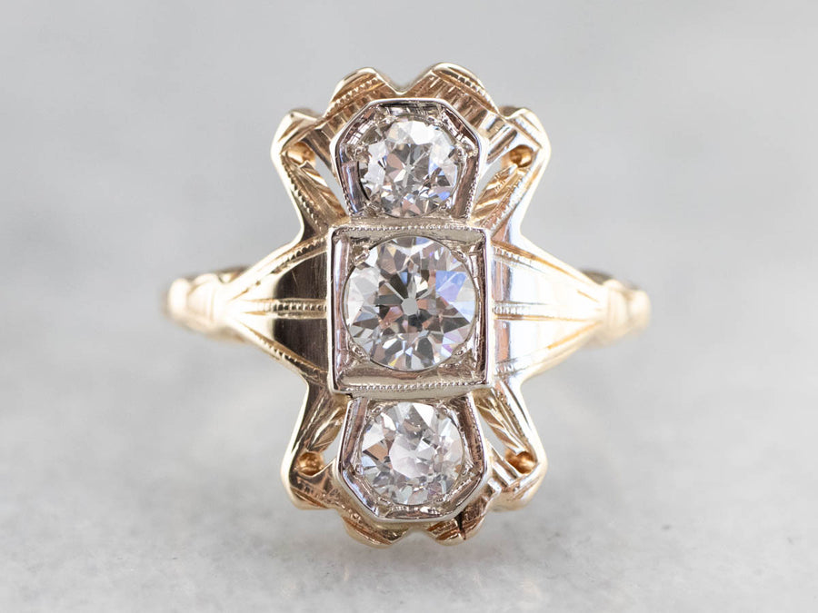 Late Art Deco Old Mine Cut Diamond Ring