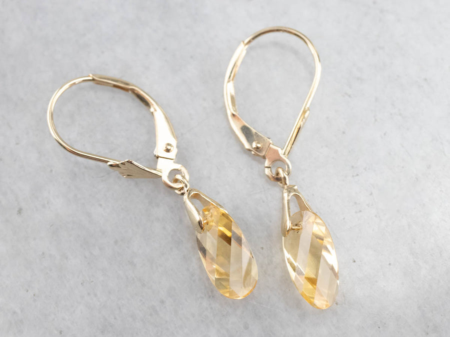Fancy Pear Cut Citrine Drop Earrings
