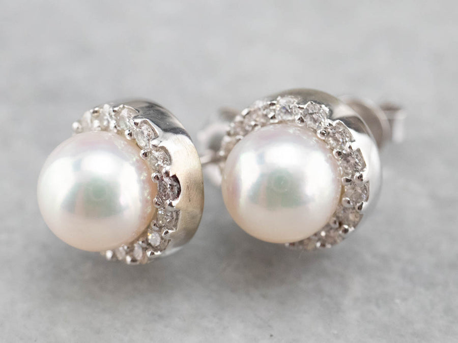 Classic White Pearl Diamond Halo Stud Earrings