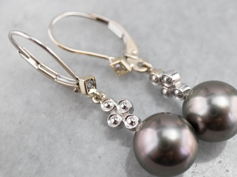Gray Pearl and Diamond Drop Earrings