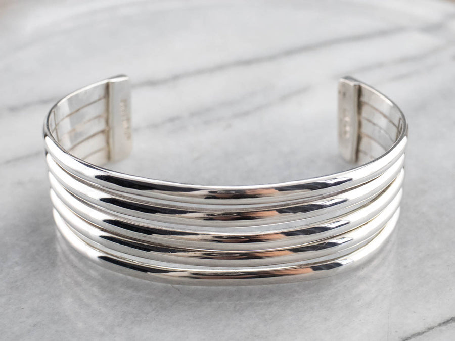 Sterling Silver Grooved Cuff Bracelet