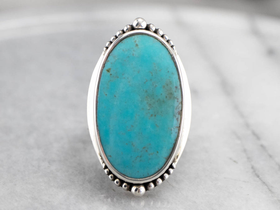 Large Turquoise Sterling Silver Statement Ring