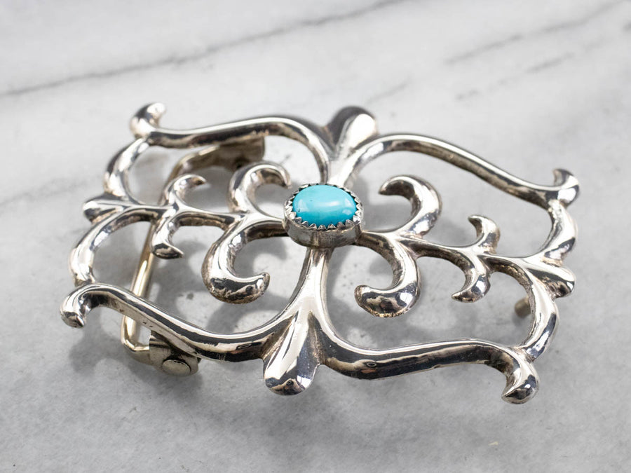 Southwestern Turquoise Sterling Silver Belt Buckle