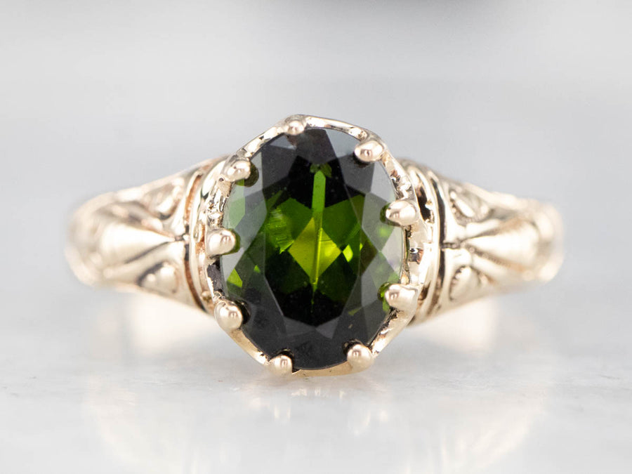 Antique Green Tourmaline Gold Solitaire Ring