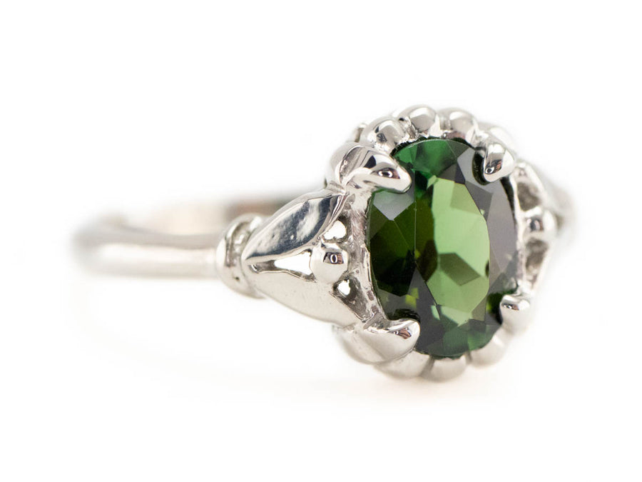 Green Tourmaline White Gold Abigail Solitaire Ring by Elizabeth Henry
